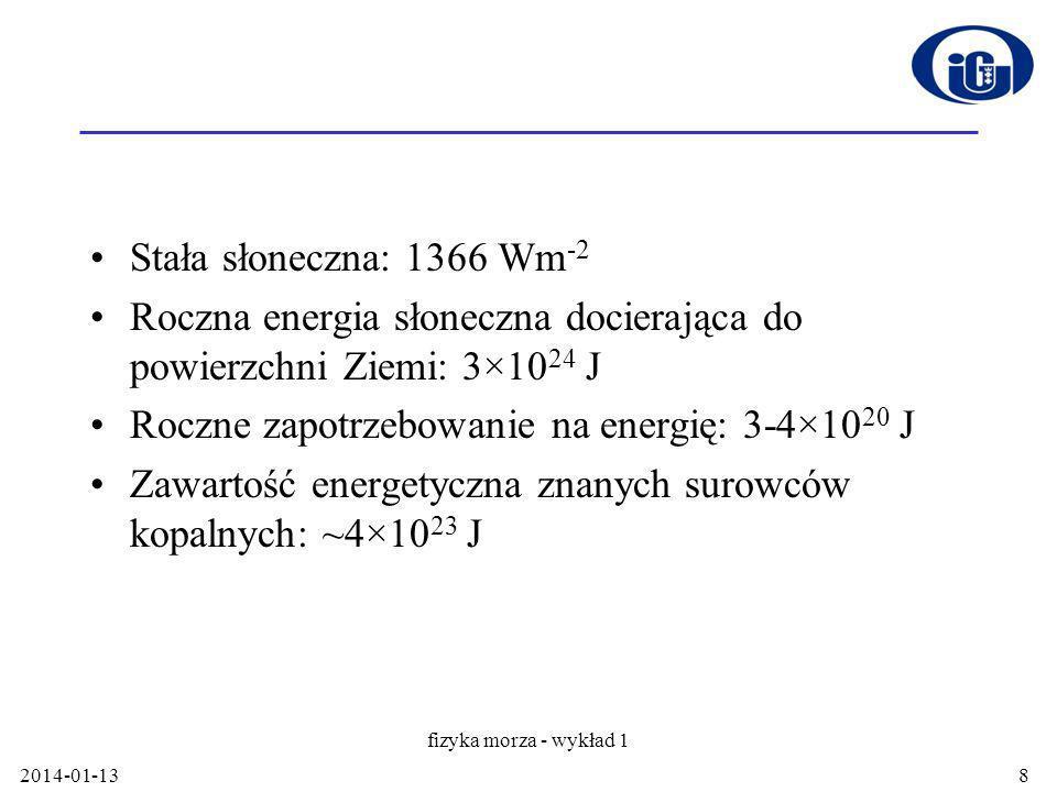 Stała słoneczna: 1366 Wm -2 Roczna energia słoneczna docierająca do powierzchni Ziemi: 3×10 24 J Roczne zapotrzebowanie na energię: 3-4×10 20 J Zawartość energetyczna znanych surowców kopalnych: ~4×10 23 J 2014-01-13 fizyka morza - wykład 1 8