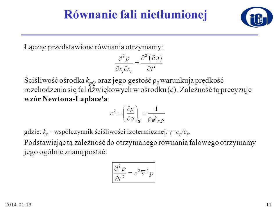 2014-01-1311 Równanie fali nietłumionej Łącząc przedstawione równania otrzymamy: Ściśliwość ośrodka k pQ oraz jego gęstość ρ 0 warunkują prędkość rozc