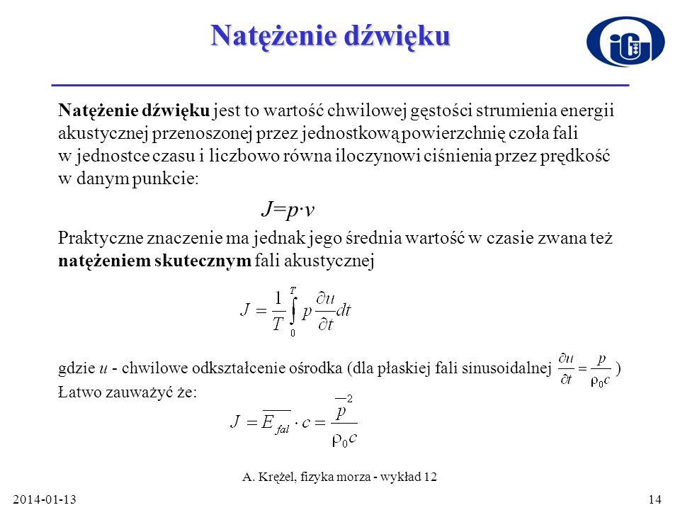 2014-01-13 A. Krężel, fizyka morza - wykład 12 14 Natężenie dźwięku Natężenie dźwięku jest to wartość chwilowej gęstości strumienia energii akustyczne