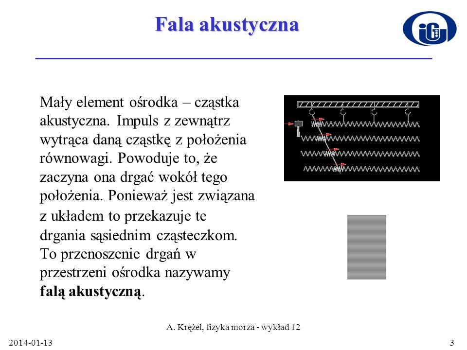2014-01-13 A. Krężel, fizyka morza - wykład 12 3 Fala akustyczna Mały element ośrodka – cząstka akustyczna. Impuls z zewnątrz wytrąca daną cząstkę z p