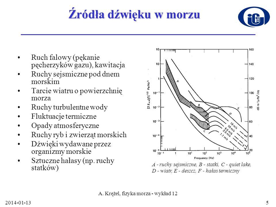 2014-01-13 A. Krężel, fizyka morza - wykład 12 5 Źródła dźwięku w morzu Ruch falowy (pękanie pęcherzyków gazu), kawitacja Ruchy sejsmiczne pod dnem mo