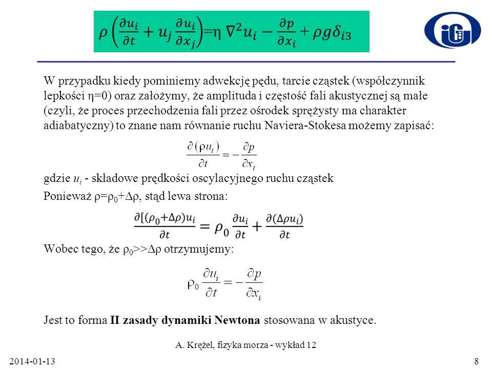 2014-01-13 A. Krężel, fizyka morza - wykład 12 8 Równanie ruchu W przypadku kiedy pominiemy adwekcję pędu, tarcie cząstek (współczynnik lepkości η=0)