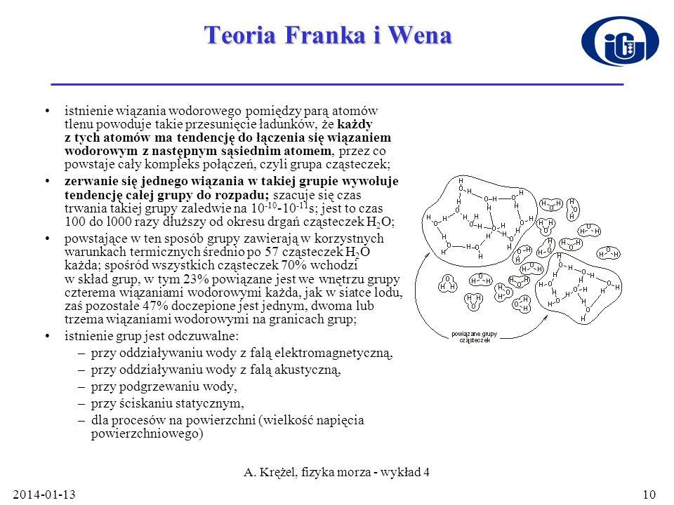2014-01-13 A. Krężel, fizyka morza - wykład 4 10 Teoria Franka i Wena istnienie wiązania wodorowego pomiędzy parą atomów tlenu powoduje takie przesuni