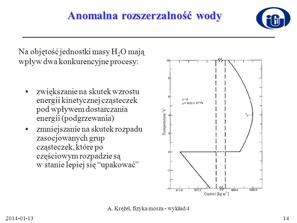 2014-01-13 A. Krężel, fizyka morza - wykład 4 14 Anomalna rozszerzalność wody zwiększanie na skutek wzrostu energii kinetycznej cząsteczek pod wpływem