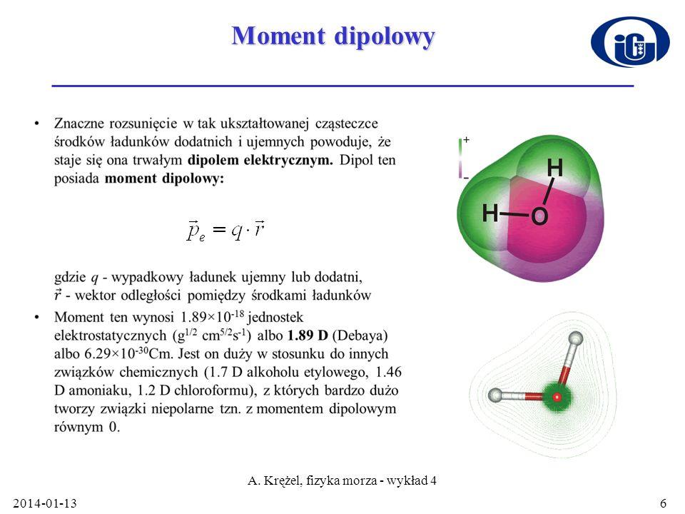 2014-01-13 A. Krężel, fizyka morza - wykład 4 6 Moment dipolowy
