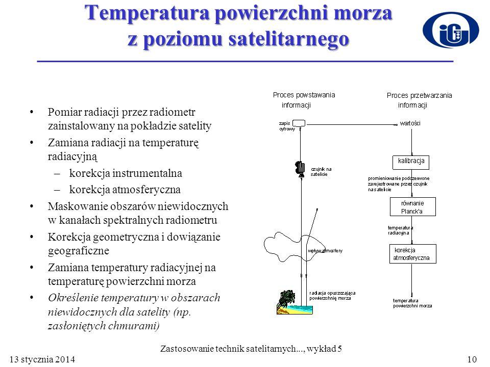 10 Temperatura powierzchni morza z poziomu satelitarnego Pomiar radiacji przez radiometr zainstalowany na pokładzie satelity Zamiana radiacji na tempe