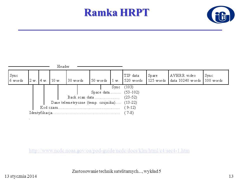 13 stycznia 201413 Ramka HRPT Zastosowanie technik satelitarnych..., wykład 5 http://www.ncdc.noaa.gov/oa/pod-guide/ncdc/docs/klm/html/c4/sec4-1.htm