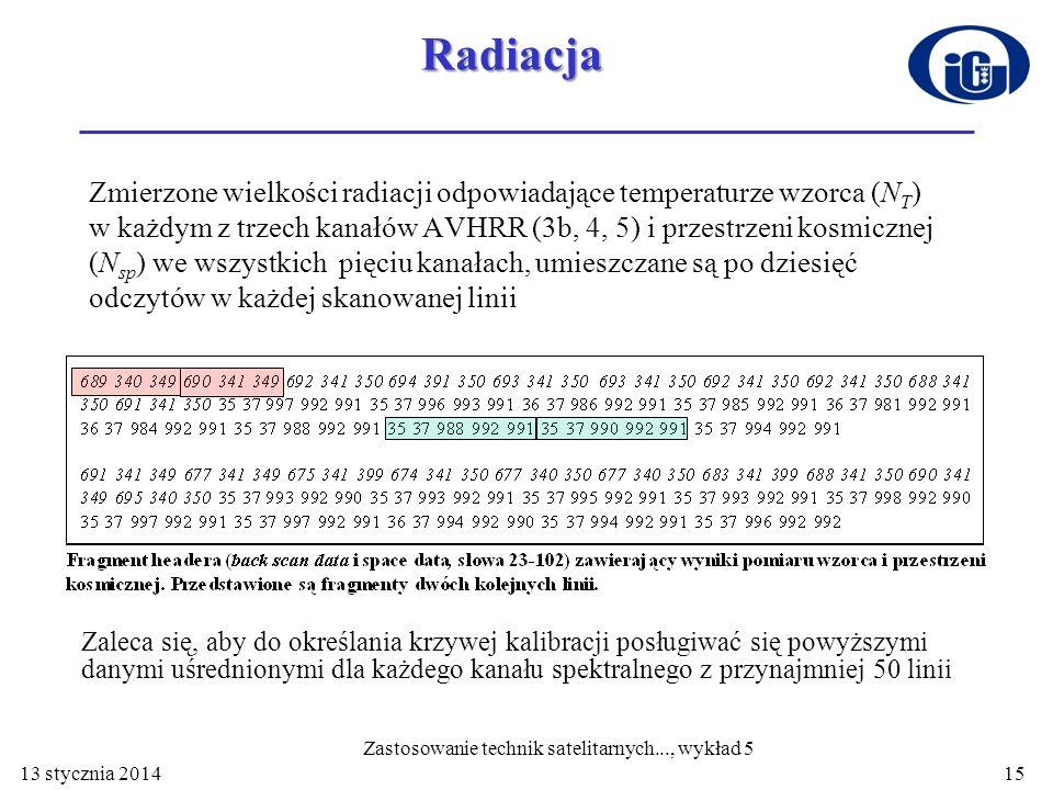 13 stycznia 201415Radiacja Zmierzone wielkości radiacji odpowiadające temperaturze wzorca (N T ) w każdym z trzech kanałów AVHRR (3b, 4, 5) i przestrz