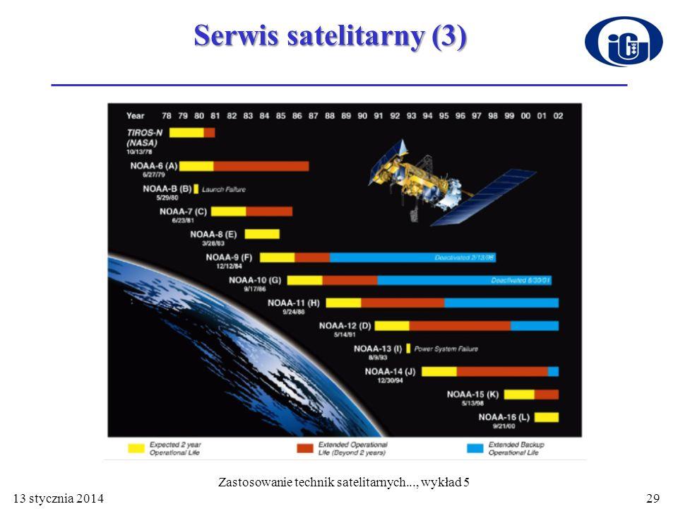 29 Serwis satelitarny (3) 13 stycznia 2014 Zastosowanie technik satelitarnych..., wykład 5