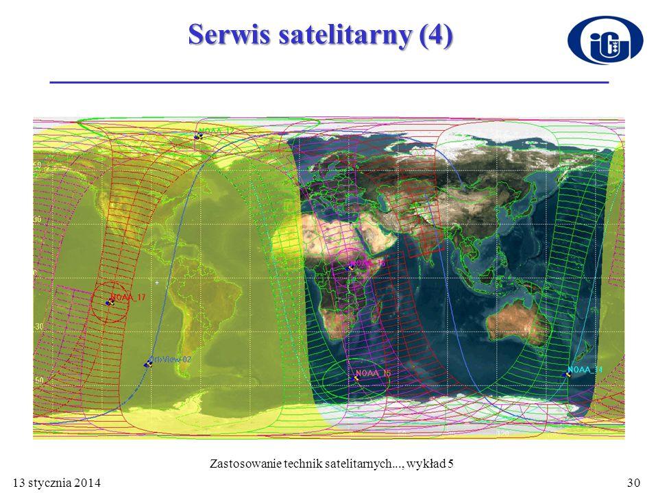 13 stycznia 201430 Serwis satelitarny (4) Zastosowanie technik satelitarnych..., wykład 5