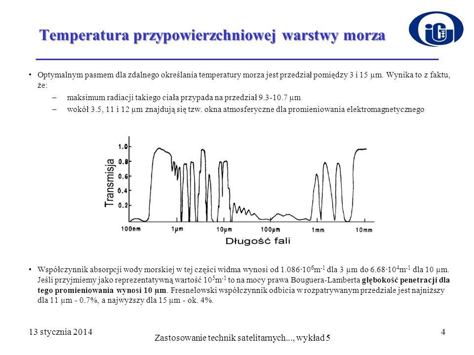 13 stycznia 201415Radiacja Zmierzone wielkości radiacji odpowiadające temperaturze wzorca (N T ) w każdym z trzech kanałów AVHRR (3b, 4, 5) i przestrzeni kosmicznej (N sp ) we wszystkich pięciu kanałach, umieszczane są po dziesięć odczytów w każdej skanowanej linii Zaleca się, aby do określania krzywej kalibracji posługiwać się powyższymi danymi uśrednionymi dla każdego kanału spektralnego z przynajmniej 50 linii Zastosowanie technik satelitarnych..., wykład 5