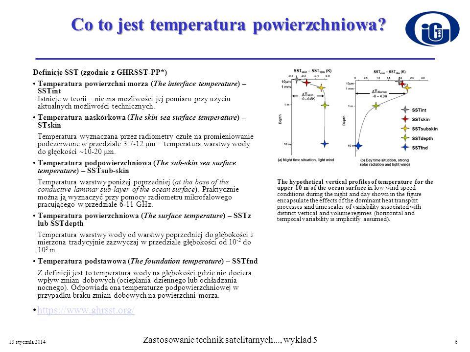 Co to jest temperatura powierzchniowa? Definicje SST (zgodnie z GHRSST-PP*) Temperatura powierzchni morza (The interface temperature) – SSTint Istniej