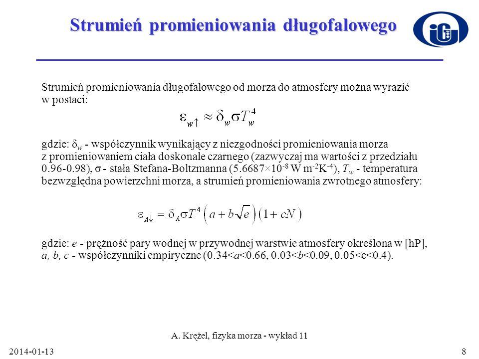 2014-01-13 A. Krężel, fizyka morza - wykład 11 8 Strumień promieniowania długofalowego Strumień promieniowania długofalowego od morza do atmosfery moż