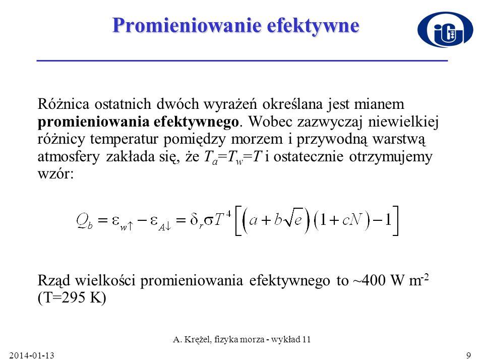 2014-01-13 A. Krężel, fizyka morza - wykład 11 9 Promieniowanie efektywne Różnica ostatnich dwóch wyrażeń określana jest mianem promieniowania efektyw