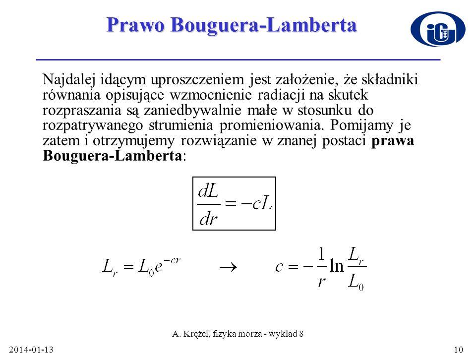 2014-01-13 A. Krężel, fizyka morza - wykład 8 10 Prawo Bouguera-Lamberta Najdalej idącym uproszczeniem jest założenie, że składniki równania opisujące