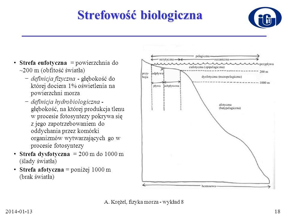 2014-01-13 A. Krężel, fizyka morza - wykład 8 18 Strefowość biologiczna Strefa eufotyczna = powierzchnia do ~200 m (obfitość światła) definicja fizycz