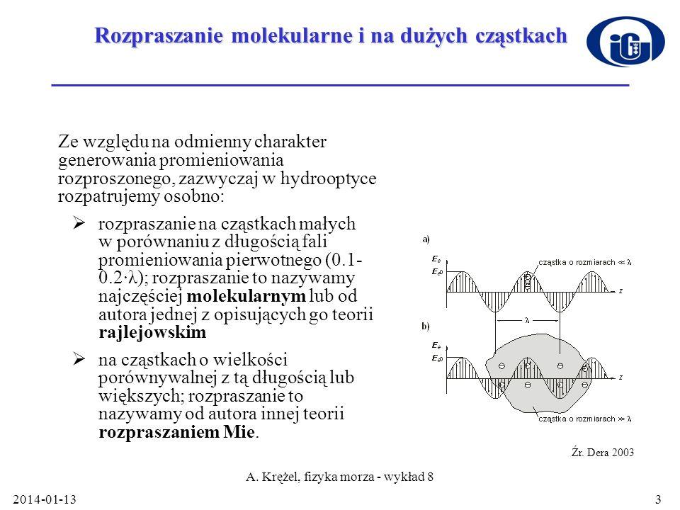 2014-01-13 A. Krężel, fizyka morza - wykład 8 3 Rozpraszanie molekularne i na dużych cząstkach Ze względu na odmienny charakter generowania promieniow