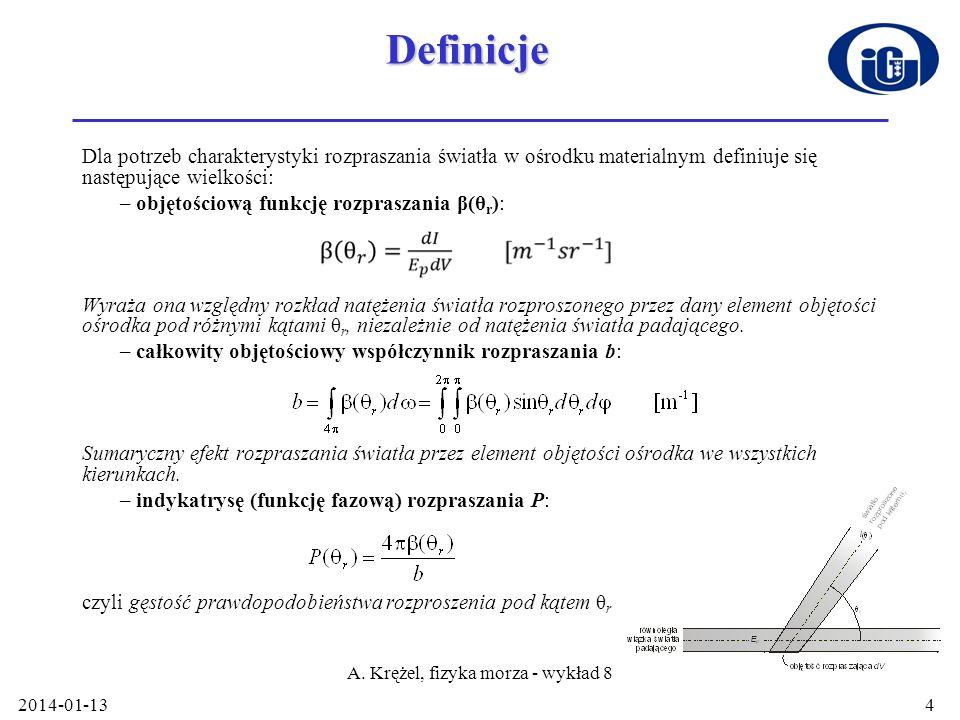 2014-01-13 A. Krężel, fizyka morza - wykład 8 4Definicje Dla potrzeb charakterystyki rozpraszania światła w ośrodku materialnym definiuje się następuj
