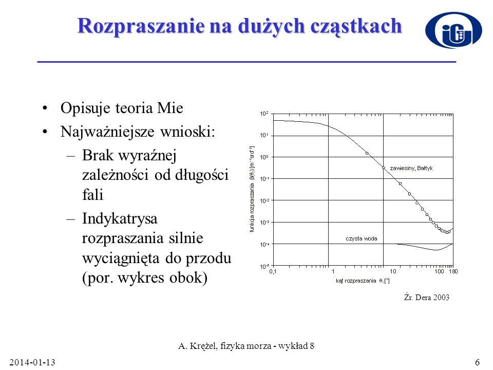 2014-01-13 A. Krężel, fizyka morza - wykład 8 6 Rozpraszanie na dużych cząstkach Opisuje teoria Mie Najważniejsze wnioski: –Brak wyraźnej zależności o