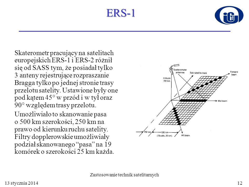 ERS-1 Skaterometr pracujący na satelitach europejskich ERS-1 i ERS-2 różnił się od SASS tym, że posiadał tylko 3 anteny rejestrujące rozpraszanie Brag