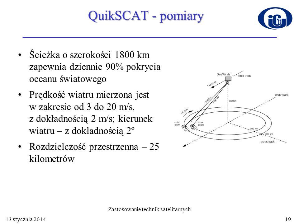 QuikSCAT - pomiary Ścieżka o szerokości 1800 km zapewnia dziennie 90% pokrycia oceanu światowego Prędkość wiatru mierzona jest w zakresie od 3 do 20 m