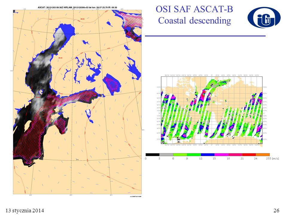 OSI SAF ASCAT-B Coastal descending 13 stycznia 201426