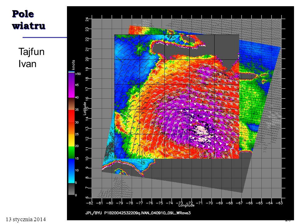 Pole wiatru Tajfun Ivan 13 stycznia 201428
