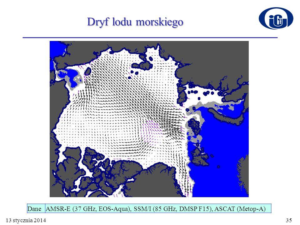 13 stycznia 201435 Dryf lodu morskiego DaneAMSR-E (37 GHz, EOS-Aqua), SSM/I (85 GHz, DMSP F15), ASCAT (Metop-A)