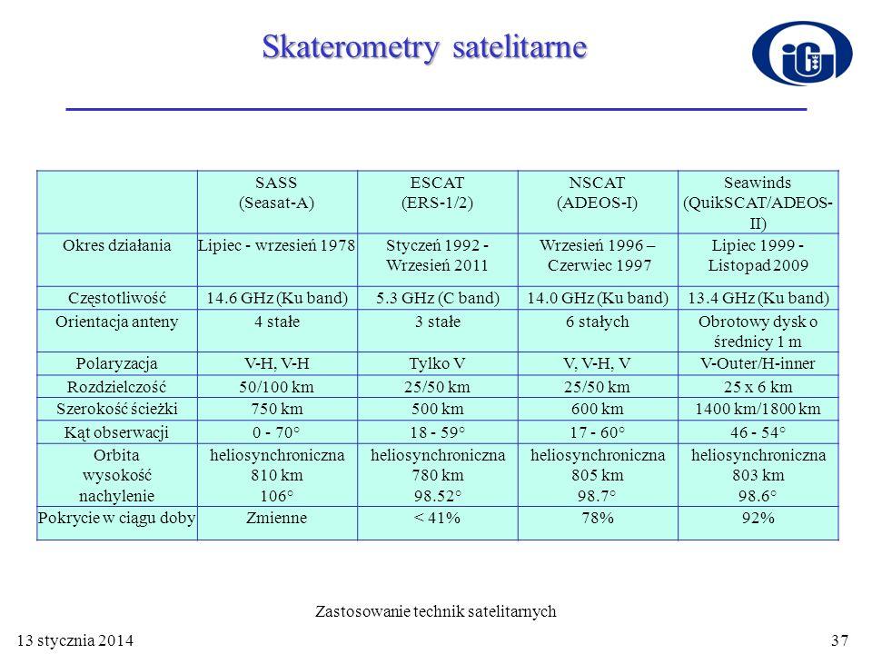 13 stycznia 2014 Zastosowanie technik satelitarnych 37 SASS (Seasat-A) ESCAT (ERS-1/2) NSCAT (ADEOS-I) Seawinds (QuikSCAT/ADEOS- II) Okres działaniaLi