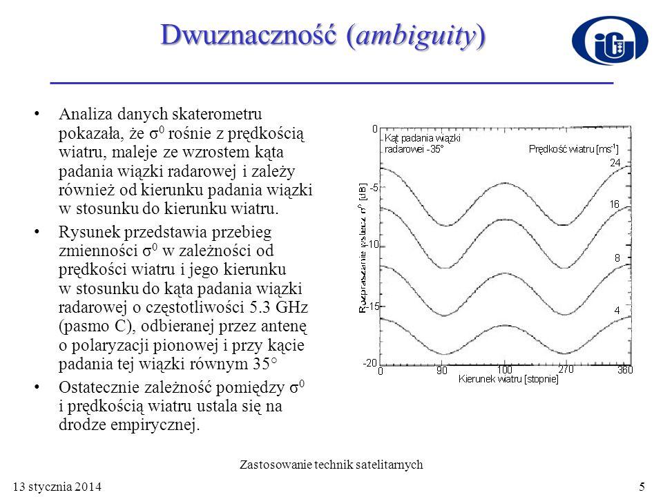 Analiza danych skaterometru pokazała, że σ 0 rośnie z prędkością wiatru, maleje ze wzrostem kąta padania wiązki radarowej i zależy również od kierunku