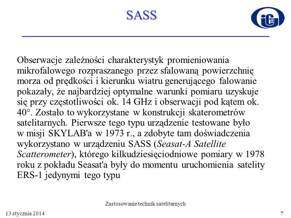 SASS Obserwacje zależności charakterystyk promieniowania mikrofalowego rozpraszanego przez sfalowaną powierzchnię morza od prędkości i kierunku wiatru