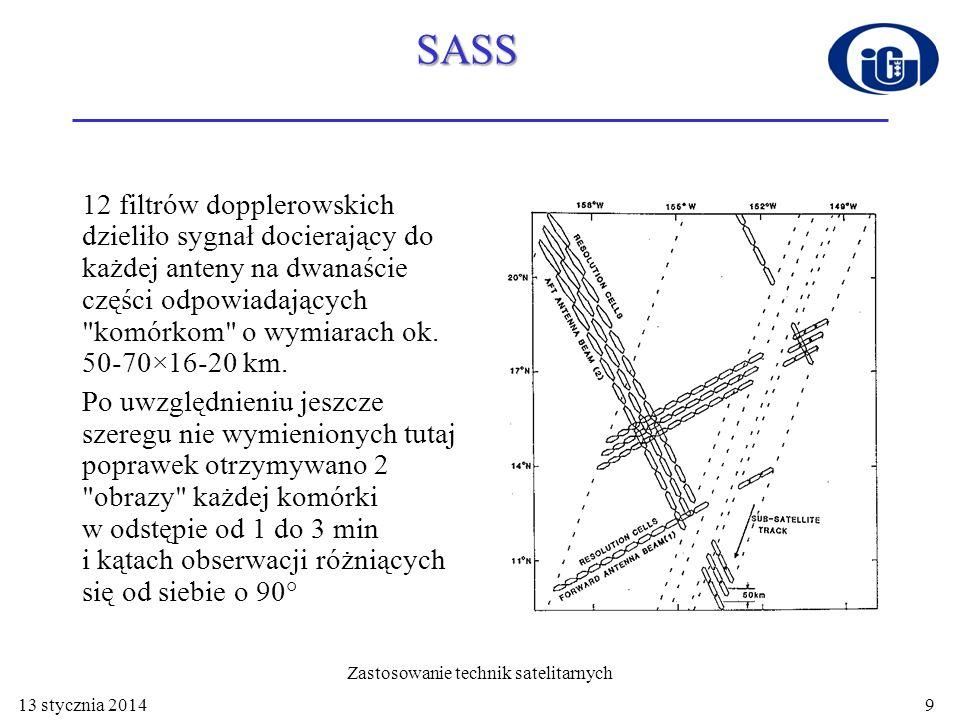 SASS 12 filtrów dopplerowskich dzieliło sygnał docierający do każdej anteny na dwanaście części odpowiadających