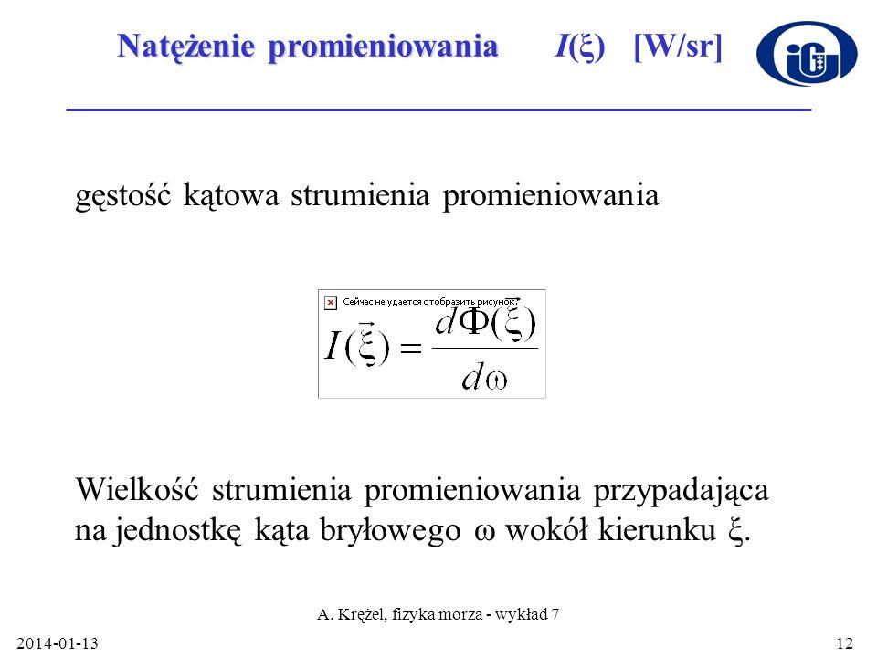 2014-01-13 A. Krężel, fizyka morza - wykład 7 12 Natężenie promieniowania Natężenie promieniowania I(ξ) [W/sr] gęstość kątowa strumienia promieniowani