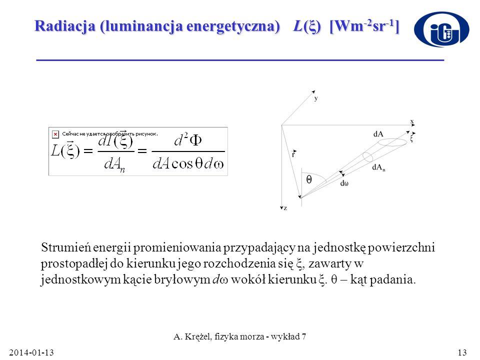 2014-01-13 A. Krężel, fizyka morza - wykład 7 13 Radiacja (luminancja energetyczna) L(ξ) [Wm -2 sr -1 ] Strumień energii promieniowania przypadający n