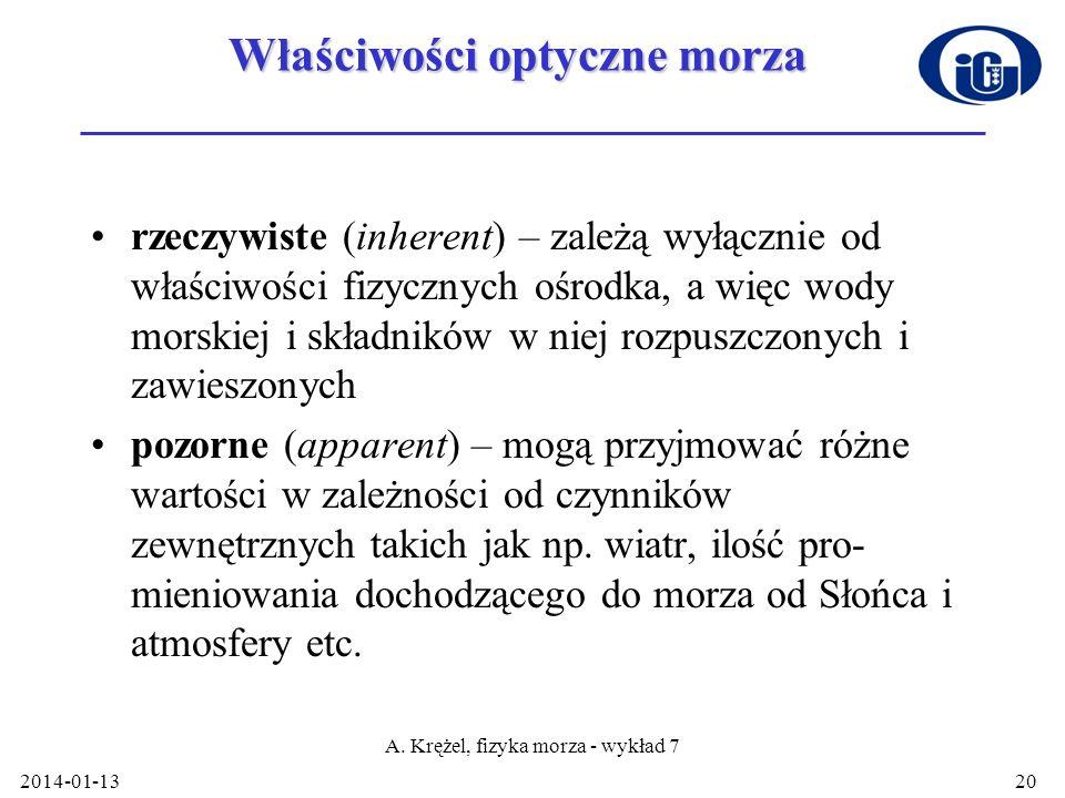 2014-01-13 A. Krężel, fizyka morza - wykład 7 20 Właściwości optyczne morza rzeczywiste (inherent) – zależą wyłącznie od właściwości fizycznych ośrodk