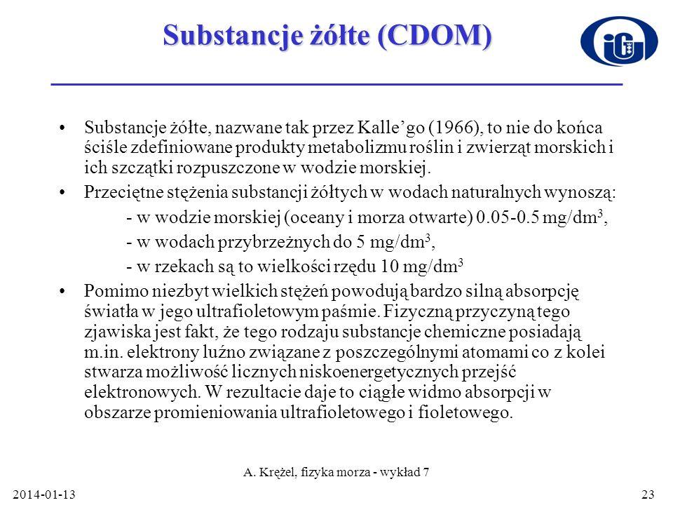 2014-01-13 A. Krężel, fizyka morza - wykład 7 23 Substancje żółte (CDOM) Substancje żółte, nazwane tak przez Kallego (1966), to nie do końca ściśle zd