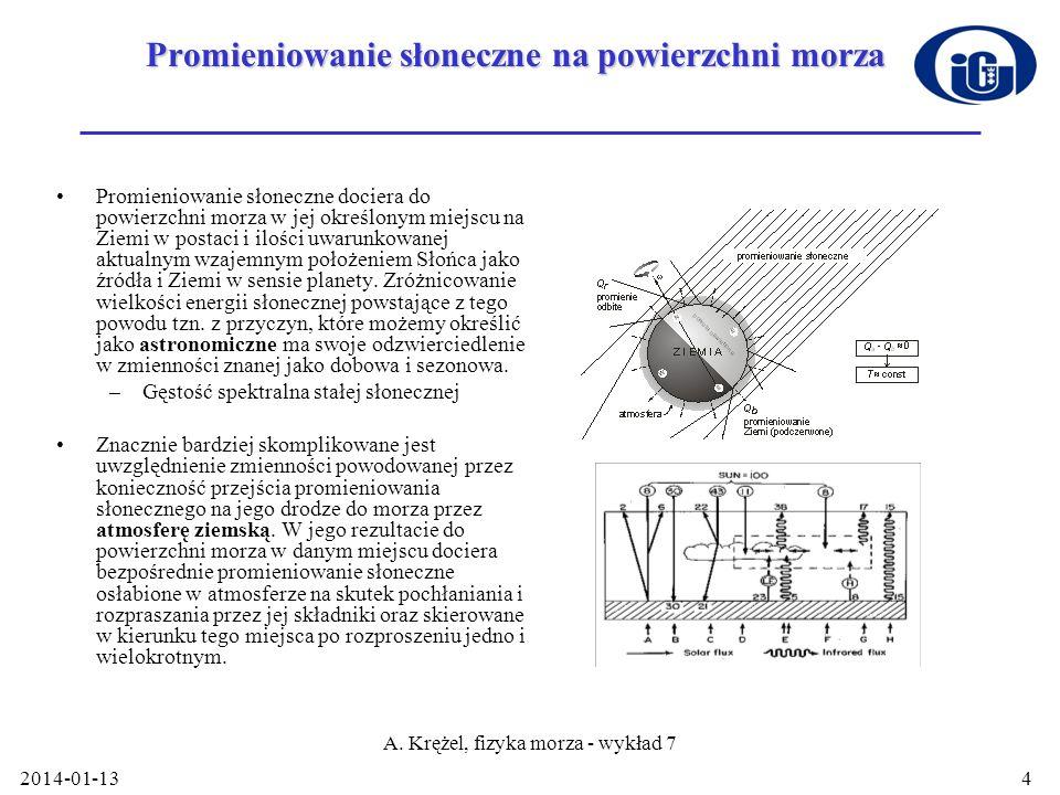 2014-01-13 A. Krężel, fizyka morza - wykład 7 4 Promieniowanie słoneczne na powierzchni morza Promieniowanie słoneczne dociera do powierzchni morza w