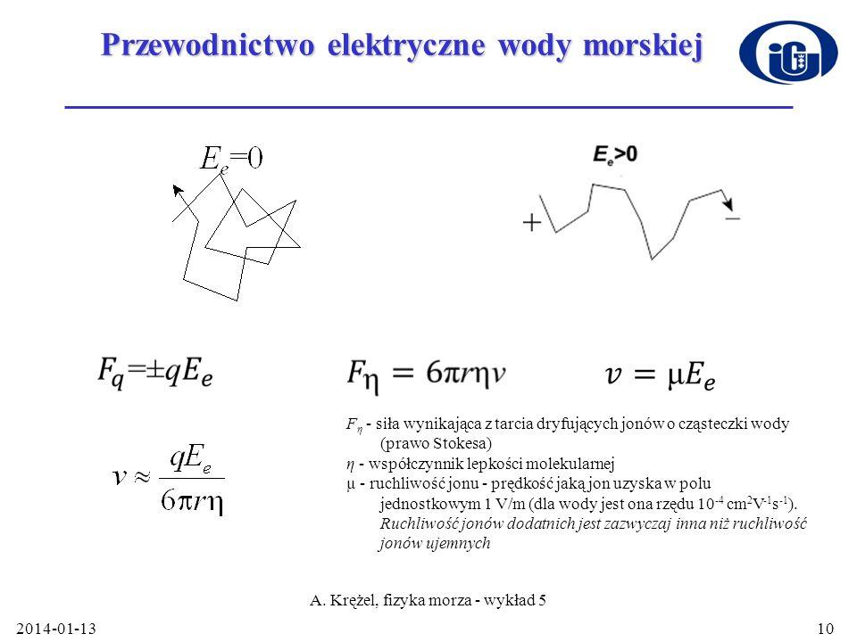 2014-01-13 A. Krężel, fizyka morza - wykład 5 10 Przewodnictwo elektryczne wody morskiej F η - siła wynikająca z tarcia dryfujących jonów o cząsteczki