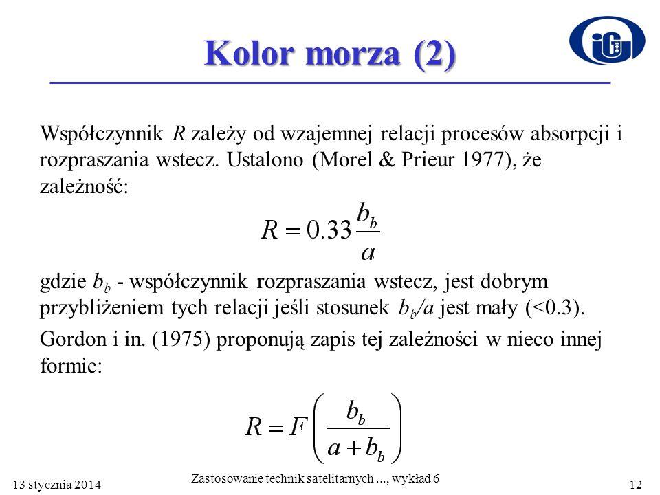 Kolor morza (2) Współczynnik R zależy od wzajemnej relacji procesów absorpcji i rozpraszania wstecz. Ustalono (Morel & Prieur 1977), że zależność: gdz