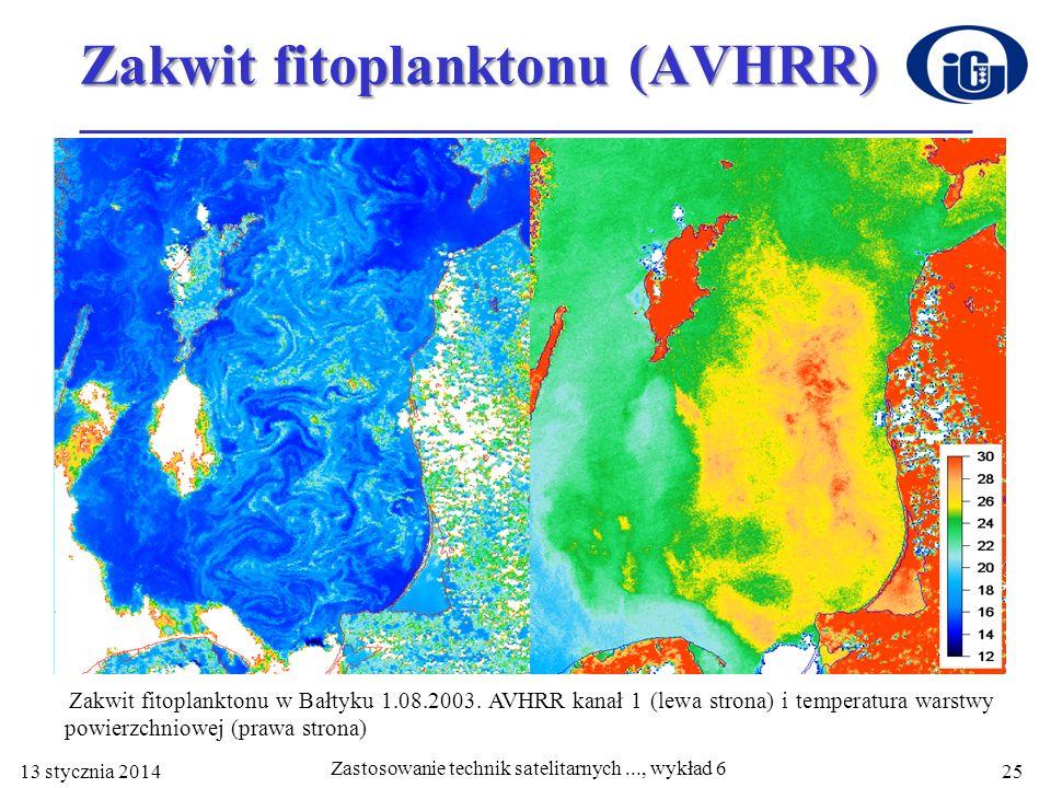 Zakwit fitoplanktonu (AVHRR) Zakwit fitoplanktonu w Bałtyku 1.08.2003. AVHRR kanał 1 (lewa strona) i temperatura warstwy powierzchniowej (prawa strona