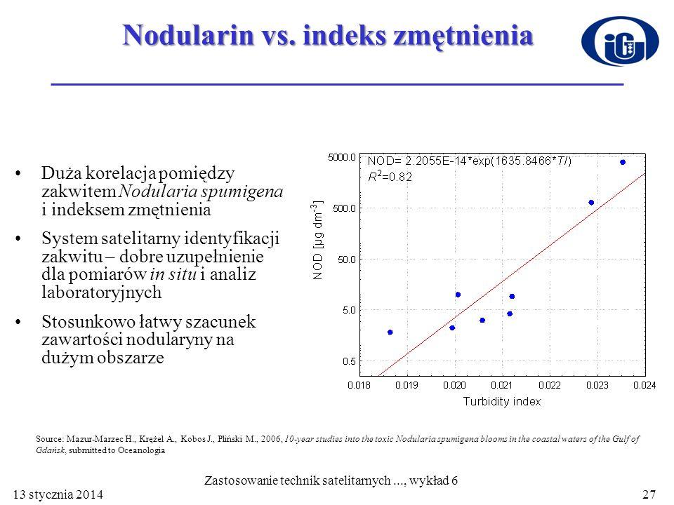 Nodularin vs. indeks zmętnienia Duża korelacja pomiędzy zakwitem Nodularia spumigena i indeksem zmętnienia System satelitarny identyfikacji zakwitu –