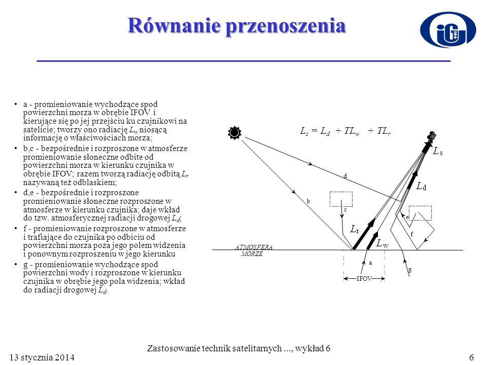 Równanie przenoszenia a - promieniowanie wychodzące spod powierzchni morza w obrębie IFOV i kierujące się po jej przejściu ku czujnikowi na satelicie;