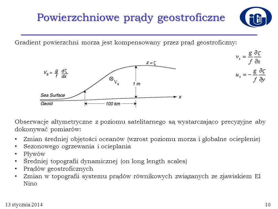 Powierzchniowe prądy geostroficzne 13 stycznia 201410 Gradient powierzchni morza jest kompensowany przez prąd geostroficzny: Obserwacje altymetryczne