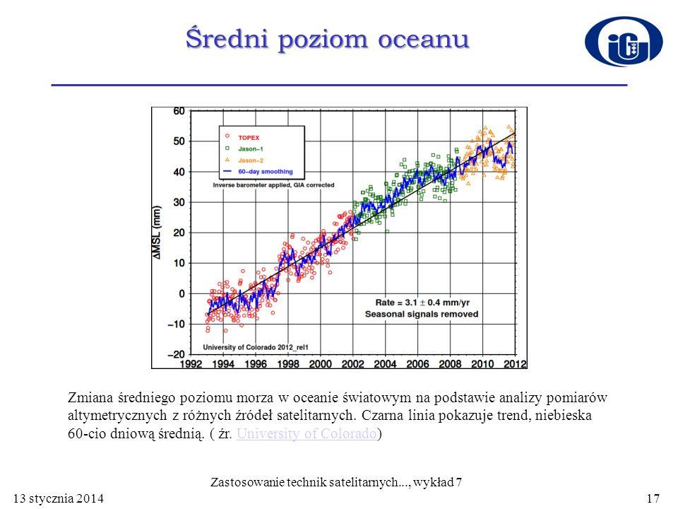 Średni poziom oceanu 13 stycznia 2014 Zastosowanie technik satelitarnych..., wykład 7 17 Zmiana średniego poziomu morza w oceanie światowym na podstaw