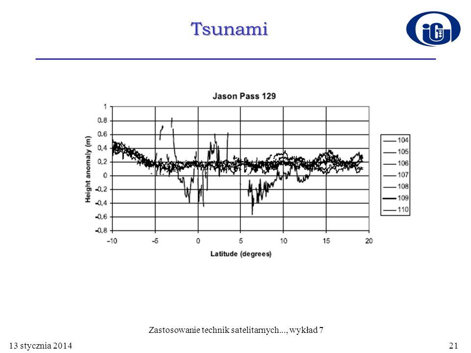 Tsunami na Oceanie Indyjskim 26 grudnia 2004 Tsunami 13 stycznia 2014 Zastosowanie technik satelitarnych..., wykład 7 21