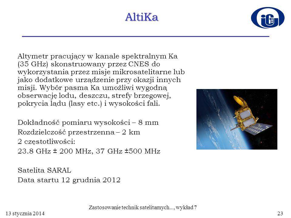AltiKa Altymetr pracujący w kanale spektralnym Ka (35 GHz) skonstruowany przez CNES do wykorzystania przez misje mikrosatelitarne lub jako dodatkowe u