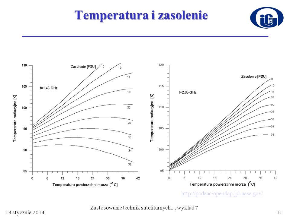 Temperatura i zasolenie 13 stycznia 201411 Zastosowanie technik satelitarnych..., wykład 7 http://podaac-opendap.jpl.nasa.gov/