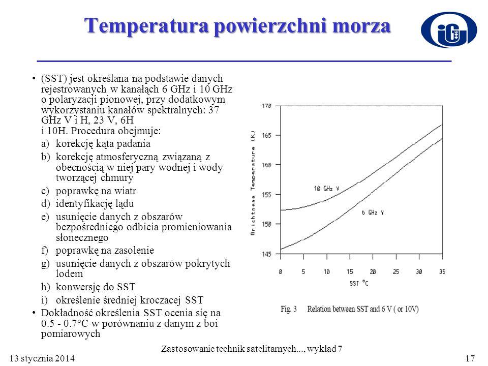 Temperatura powierzchni morza (SST) jest określana na podstawie danych rejestrowanych w kanałąch 6 GHz i 10 GHz o polaryzacji pionowej, przy dodatkowy