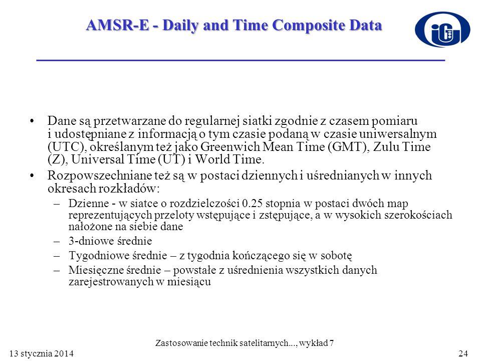 AMSR-E - Daily and Time Composite Data Dane są przetwarzane do regularnej siatki zgodnie z czasem pomiaru i udostępniane z informacją o tym czasie pod