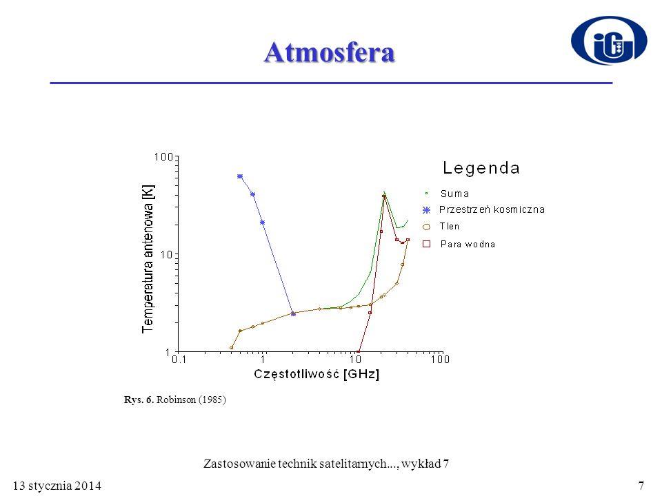 Atmosfera Rys. 6. Robinson (1985) 13 stycznia 20147 Zastosowanie technik satelitarnych..., wykład 7